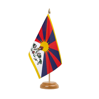 "Table Flag Tibet - 6x9"" (15 x 22 cm), wooden"
