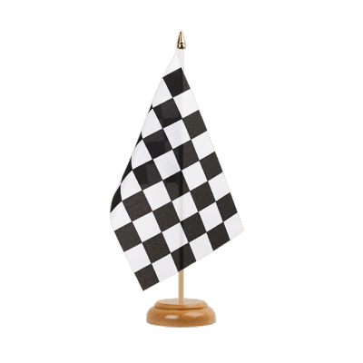 "Table Flag Checkered - 6x9"" (15 x 22 cm), wooden"