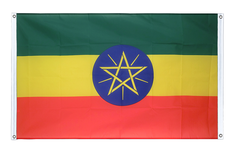 Banner Flag Ethiopia with star - 3x5 ft (90x150 cm), landscape