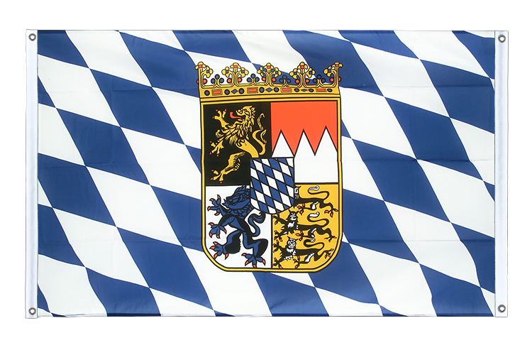 Banner Flag Bavaria with crest - 3x5 ft (90x150 cm), landscape