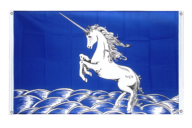 Banner Flag Unicorn blue - 3x5 ft (90x150 cm), landscape