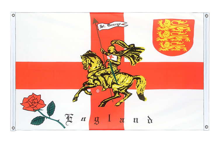 Banner Flag England with knight - 3x5 ft (90x150 cm), landscape