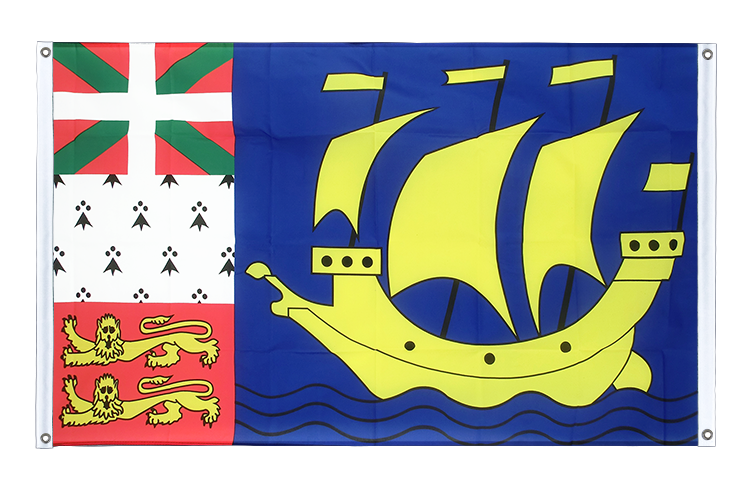 Banner Flag Saint Pierre and Miquelon - 3x5 ft (90x150 cm), landscape