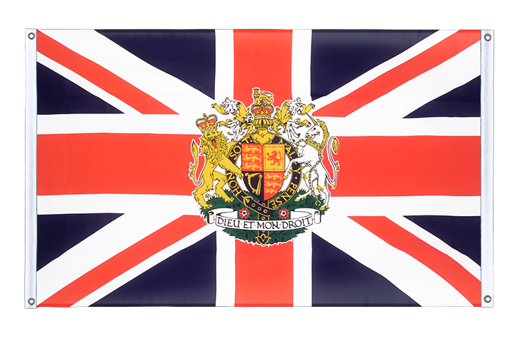 Banner Flag Great Britain with crest - 3x5 ft (90x150 cm), landscape