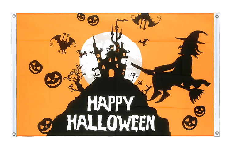 Banner Flag Happy Halloween orange - 3x5 ft (90x150 cm), landscape