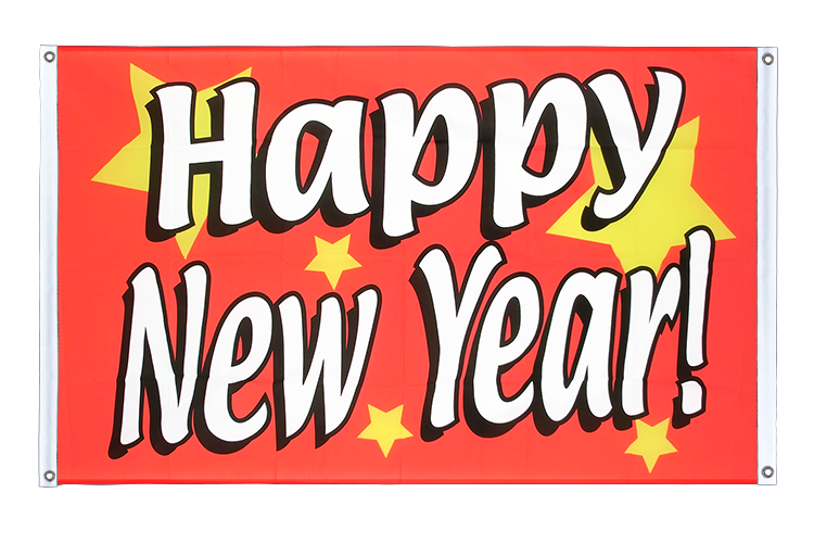 Banner Flag Happy New Year - 3x5 ft (90x150 cm), landscape