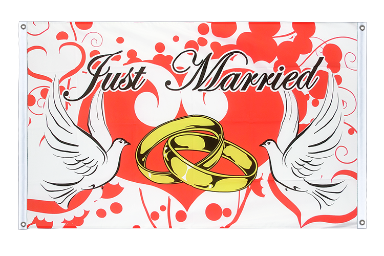Banner Flag Just Married - 3x5 ft (90x150 cm), landscape