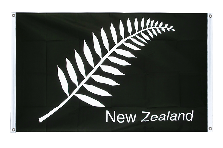 Banner Flag New Zealand feather all blacks - 3x5 ft (90x150 cm), landscape