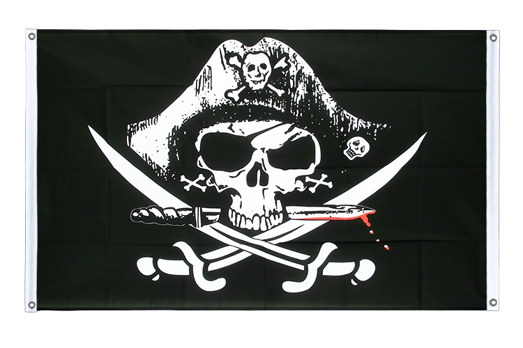 Banner Flag Pirate with bloody sabre - 3x5 ft (90x150 cm), landscape