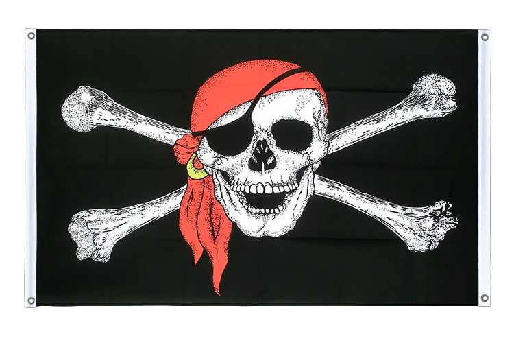 Banner Flag Pirate with bandana - 3x5 ft (90x150 cm), landscape