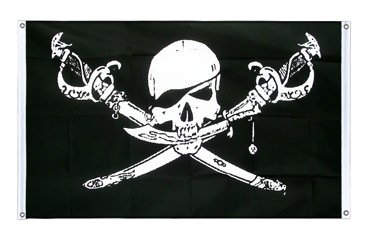 Banner Flag Pirate with sabre - 3x5 ft (90x150 cm), landscape