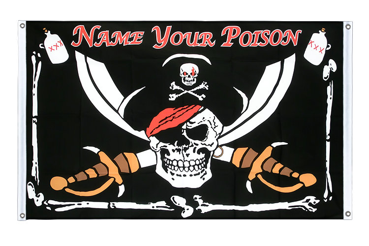 Bannière Pirate Name your Poison Oeillets - 90 x 150 cm, paysage