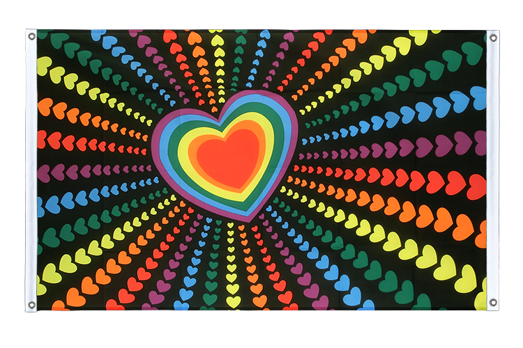 Banner Flag Rainbow Love - 3x5 ft (90x150 cm), landscape