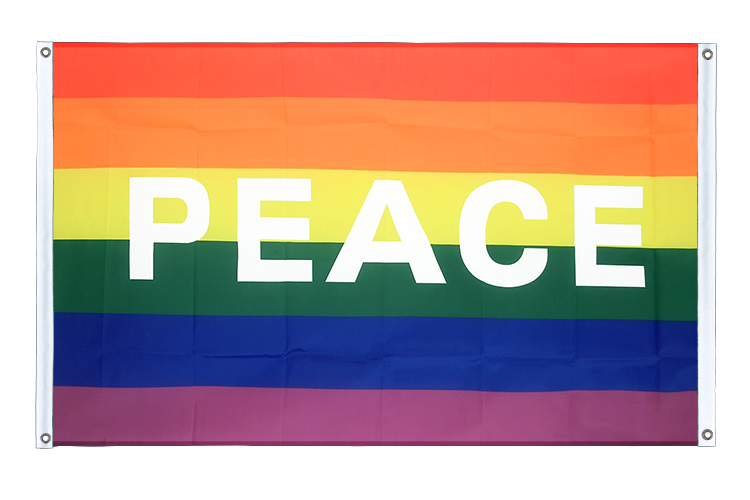 Banner Flag Rainbow with PEACE - 3x5 ft (90x150 cm), landscape