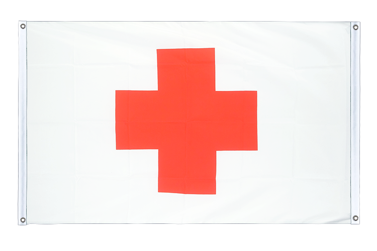 Red Cross Grommet Banner Flag - 3x5 ft (90x150 cm), landscape