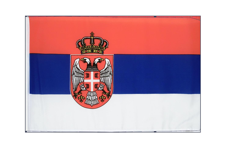 petit drapeau serbie avec blason 30 x 45 cm m des