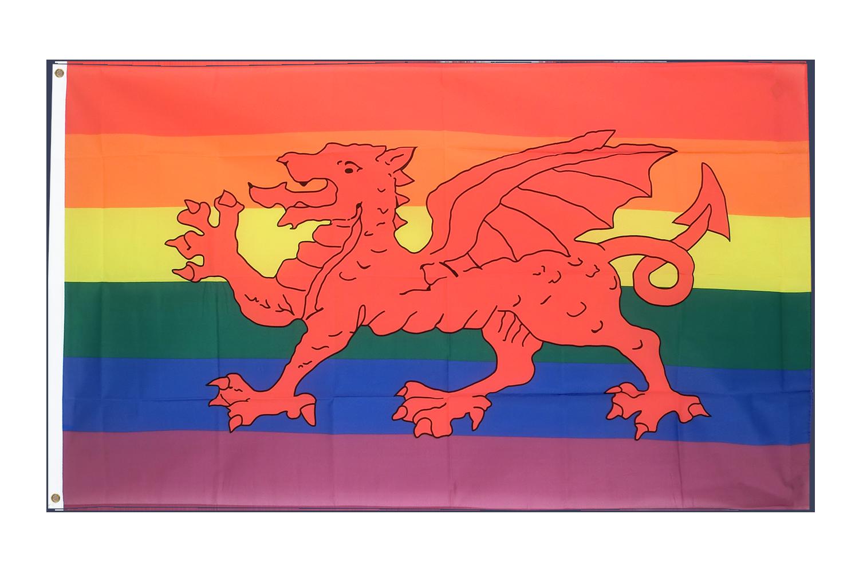 Drapeau Arc En Ciel Avec Dragon Gallois
