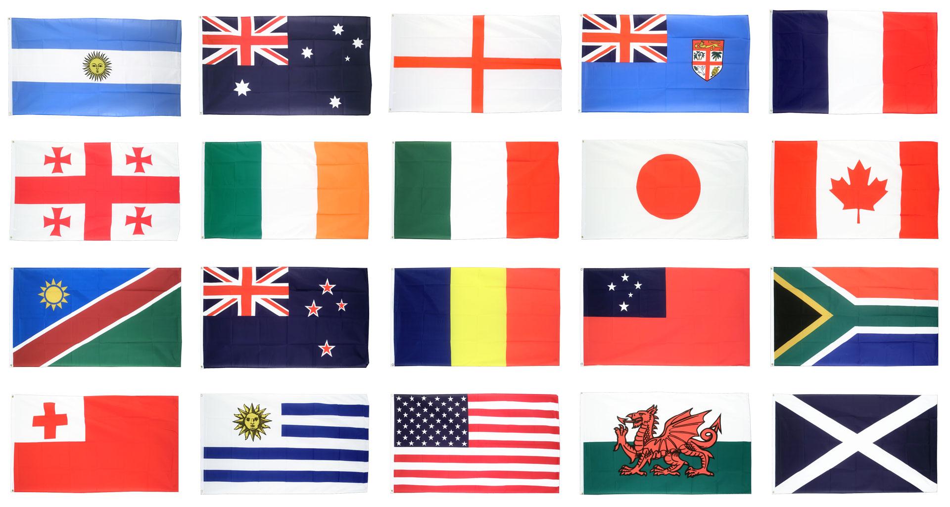 kit drapeaux coupe du monde de rugby 2015 20 pays 90 x. Black Bedroom Furniture Sets. Home Design Ideas