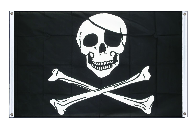 Fahne Flagge mit 2 Ösen 90 x 150 cm Totenkopf Pirat mit roten Augen