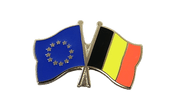 EU + Belgium - Crossed Flag Pin