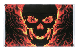 Skull with Fire - Banner Flag 3x5 ft, landscape