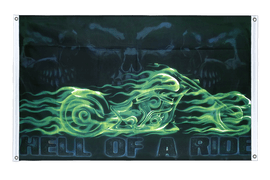 Skull Biker Hell of a Ride - Banner Flag 3x5 ft, landscape