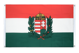 Hungary with crest Grommet Banner Flag - 3x5 ft, landscape