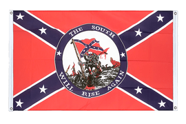 USA Südstaaten South will rise again - Bannerfahne VA Ösen 90 x 150 cm, quer