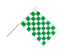 Checkered Green-White - Hand Waving Flag 6x9""