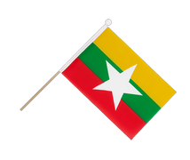 Myanmar new - Hand Waving Flag 6x9""