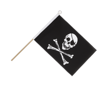Pirate Skull and Bones - Hand Waving Flag 6x9""