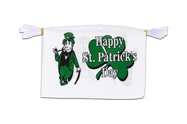 "Happy Saint Patrick's Day St Patrick's White - Mini Flag Bunting 6x9"", 3 m"