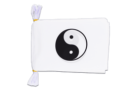 "Ying and Yang, white - Mini Flag Bunting 6x9"", 3 m"