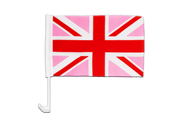 Union Jack pink - Car Flag 12x16""