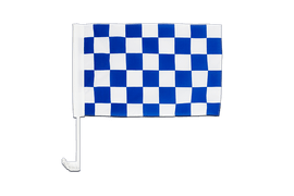Checkered blue-white - Car Flag 12x16""