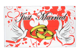 Drapeau Mariage Just Married - 90 x 150 cm