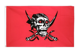 Pirate on red shawl Flag - 3x5 ft