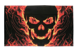 Skull with Fire - 3x5 ft Flag