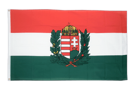 Hungary with crest Flag - 3x5 ft
