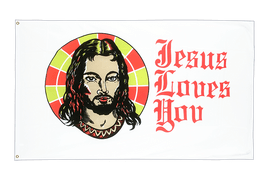 Drapeau pas cher Jesus Loves You - 60 x 90 cm