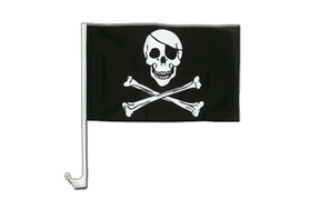 Pirate Skull and Bones - Car Flag 12x16""