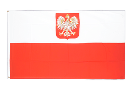 Large Poland with eagle Flag - 5x8 ft
