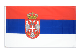 Large Serbia with crest Flag - 5x8 ft