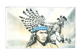 Indian with eagle - 3x5 ft Flag