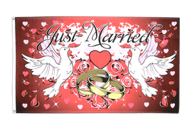 Drapeau Mariage Just Married, rouge - 90 x 150 cm