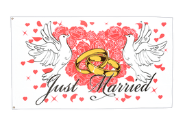 Just Married - Flagge 90 x 150 cm