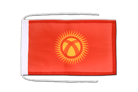 Kyrgyzstan - Flag with ropes 8x12""