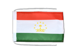 Tajikistan - Flag with ropes 8x12""