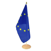 "European Union EU - Large Table Flag 12x18"", wooden"