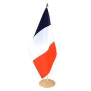 Grand drapeau de table France en bois - 30 x 45 cm